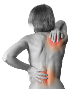 Rheumatism . Back woman naked on white background