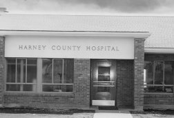 Exterior view of the entrance to old Harney County Hospital, circa 1950s