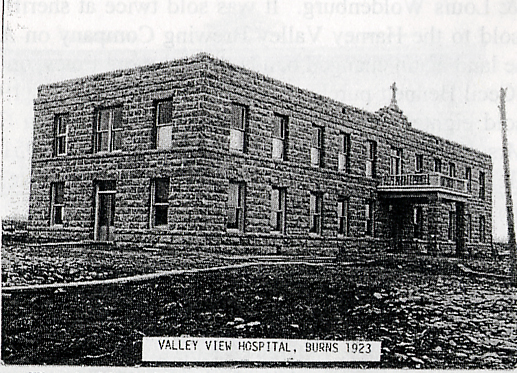 Exterior view of the old Valley View Hospital in Burns, Oregon, 1923