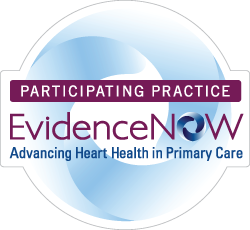 Web Badge with text: Participating Practice, Evidence Now, Advancing Heart Health in Primary Care