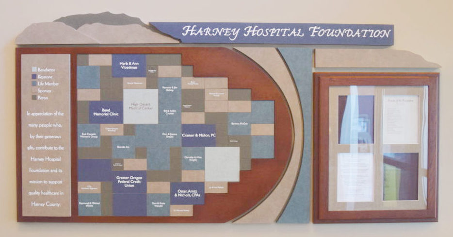 Harney Hospital Foundation wall display showcasing donors.