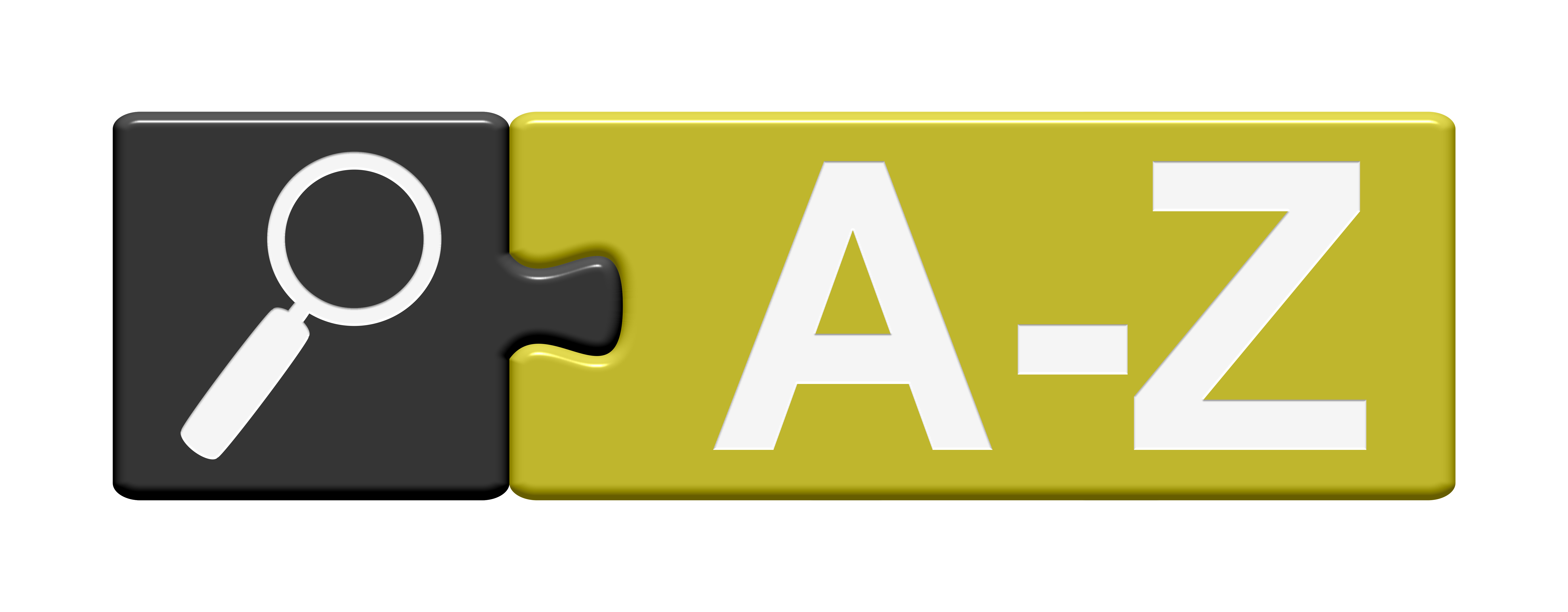 Graphic of two puzzle pieces with magnifying glass and letters A-Z